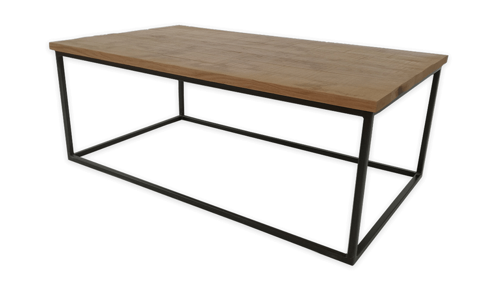 table basse industriel en ch ne massif et m tal. Black Bedroom Furniture Sets. Home Design Ideas