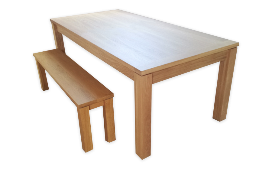 Table Rectangle Zenwood chêne massif avec banc en option